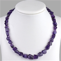 Necklace Freeform faceted, Ametyhst, 10-12mm/50cm