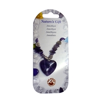 Heart necklace, Amethyst, for Stand-alone display
