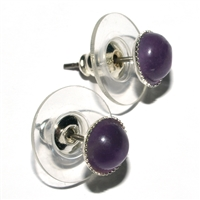 Earpins, Amethyst, 06mm-Cabochon, for Stand-alone display