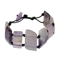 Bracelet Amethyst with Leather