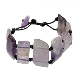 Bracelet, Amethyst, with Leather