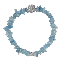 Bracelet Chips, Aquamarine with Clover