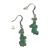 Chips Earrings, Aventurine, appr. 4cm, for Stand-alone display