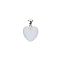 Heart Pendant Rock Crystal, Metal Loop, 20mm