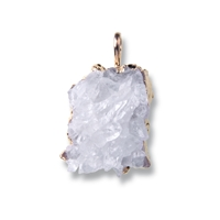 Pendant Rock Crystal (rough) galvanically gold plated, appr. 35mm