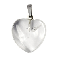 Heart Pendant Rock Crystal with 925 Silver pin with loop