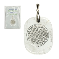 "Pendant Freeform Rock Crystal with ""Flower of Life"" silver-coloured engraving, eyelet Silver"