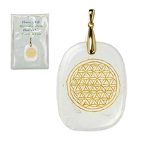 "Pendant Freeform Rock Crystal with ""Flower of Life"" gold-coloured engraving, eyelet silver gold plated"