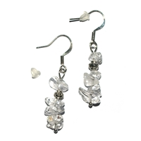 Chips Earrings, Rock Crystal, app. 4cm, for Stand-alone display