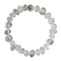 Bracelet Nuggets rounded, Rock Crystal, wirh Cubic Zirconia Bead
