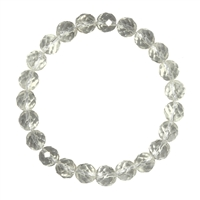 Bracelet, Beads 4mm, Rock crystal, faceted
