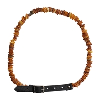 Dog Necklace Amber with leather clasp