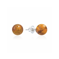 Stud Earrings Amber (rec.) Sphere, 8mm