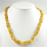 Necklace Amber Chips, milky, 65cm