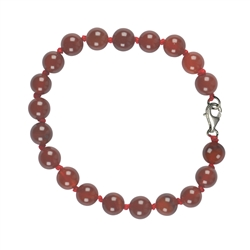 Bracelet, Carnelian (heated), 08mm Beads, with Clasp
