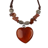 Heart Collier, Carnelian (heated), for Stand-alone display