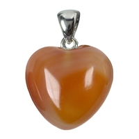 Heart Pendant Carnelian (heated), Metal Loop, 20mm