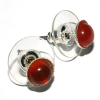 Earpins, Carnelian (heated), 06mm-Cabochon, for Stand-alone display