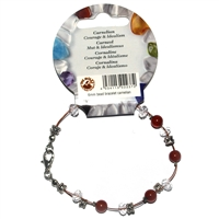 Wire Bracelet, Carnelian, beads 06mm, for Stand-alone display