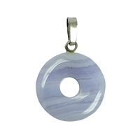 Pendant Donut Blue Lace Agate, Silver Loop, 15mm