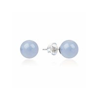 Earpins Chalcedony blue, Spheres, 8mm