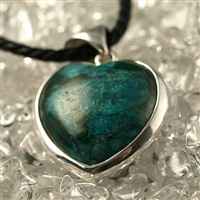 Pendant Heart Chrysocolla A, 925 Silver, 45mm