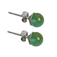 Earpin Chrysoprase, Sphere, 6mm