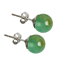 Earpin Chrysoprase, Sphere, 8mm