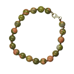 Bracelet, Unakite, 08mm Beads, Metal Clasp