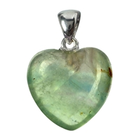 Pendant Heart Fluorite, Metal Loop, 20mm