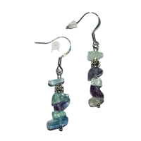 Chips Earrings, Fluorite, appr. 4cm, for Stand-alone display
