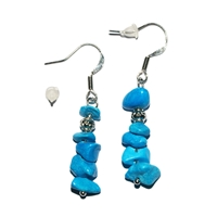Chips Earrings, Turquenite (Magnesite dyed(, appr. 4cm, for Stand-alone display