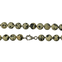 Necklace Beads, Dalmatian Stone frosted, 08mm/80cm