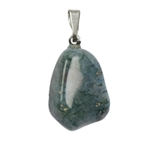 Pendant Tumbled Stone Agate Moss with 925 Silver eyelet