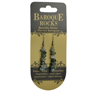 "Earrings Baroque Classic Moss Agate ""Inspiration"", 1 string"
