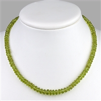 Necklace Button faceted, Peridot, 6-8mm/45cm