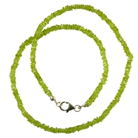 Necklace Flat Squares, Peridote, 3-4mm/45cm