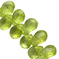 Bead Necklace Drops, Peridot, 925 silver clasp, 42cm