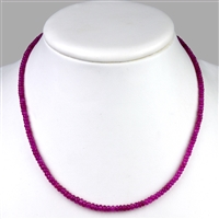 Necklace Button faceted, Ruby, 3-5mm/45cm