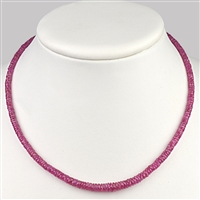 Necklace Button flat faceted, Ruby, 3-5mm/45cm