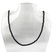 Bead Necklace Turmaline black (stab.) 04mm/45cm