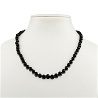 Necklace Beads, Tourmaline black (stab.), 06mm/45cm