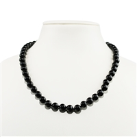 Necklace Beads,Tourmaline black (stab.), 08mm/45cm