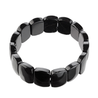 Bracelet Slab bevelled 14 x 18mm, Turmaline black (stab.)