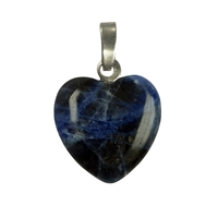 Pendant Heart Sodalith, Silver Loop, 15mm