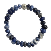 Bracelet Nuggets rounded, Sodalite, wirh Cubic Zirconia Bead