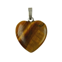 Pendant Heart Tiger's Eye, Silver Loop, 15mm