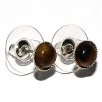 Earpin, Tiger's Eye, 06mm-Cabochon, for Stand-alone display