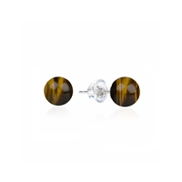 Earpins Tiger's Eye, Spheres, 6mm