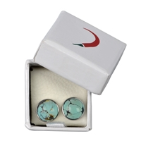 Stud Earring Turquoise (stab.), Cabochon, 8mm